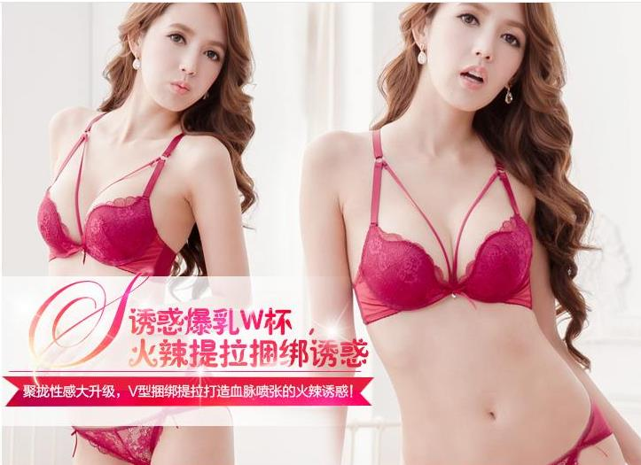 00074 Korean Style Embroidery Lace Push Up Bra Set