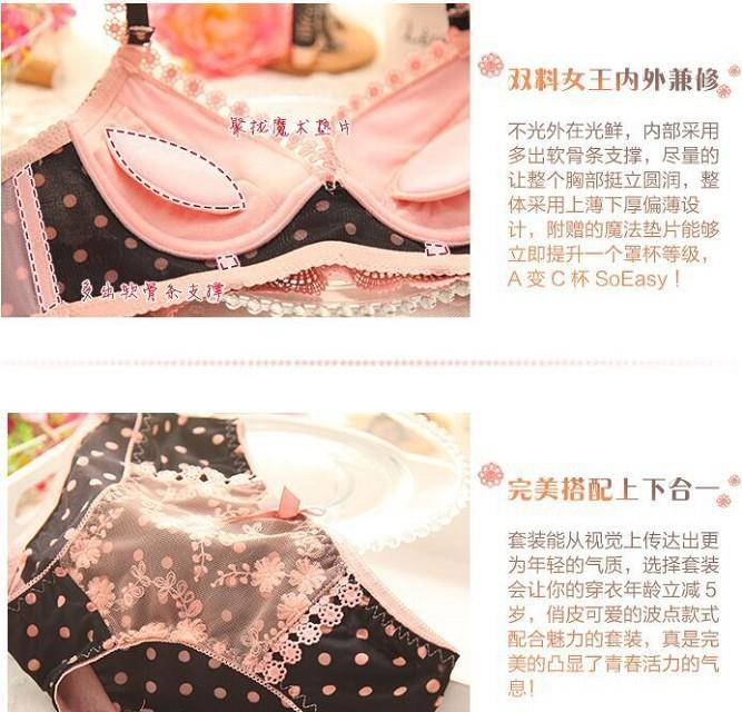 00079 Korean Style Embroidery Lace Push Up Bra Set