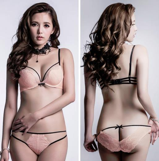 00111 Korean Style Embroidery Lace Push Up Bra Set