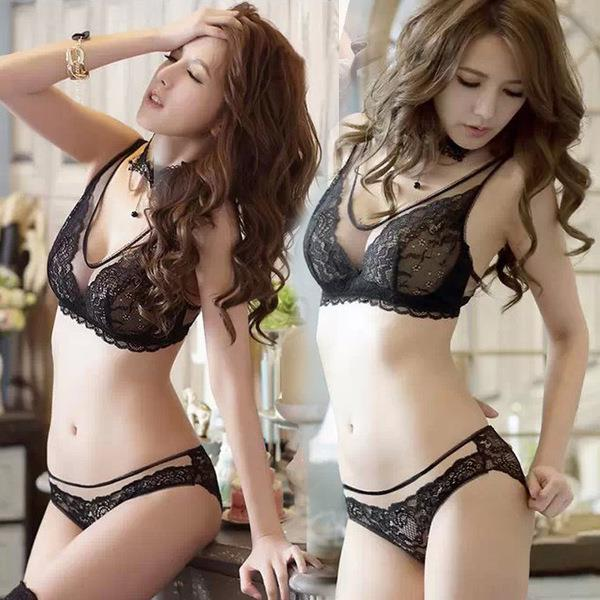 00113 Korean Style Embroidery Lace Push Up Bra Set