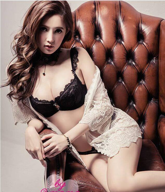 00165 Korean Style Embroidery Lace Push Up Bra Set
