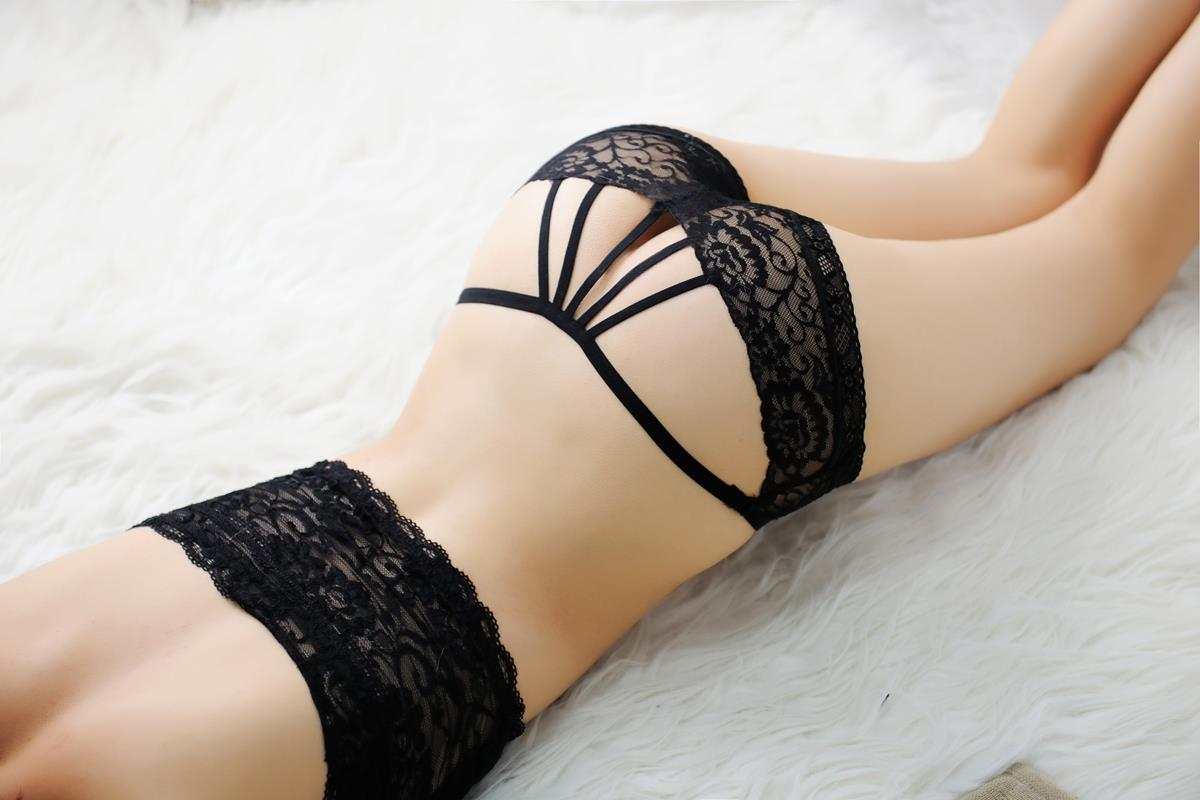 00201 Delicate Embroidered Floral Gauze Rear Hollow Panties