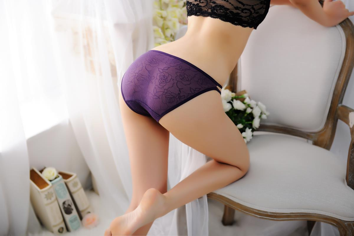 00270 Delicate Double Band Embroidered Flower Panties