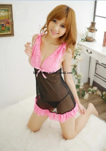 00307 Sexy Sleep Lingerie Underwear Pyjamas Nightwear Skirt+T
