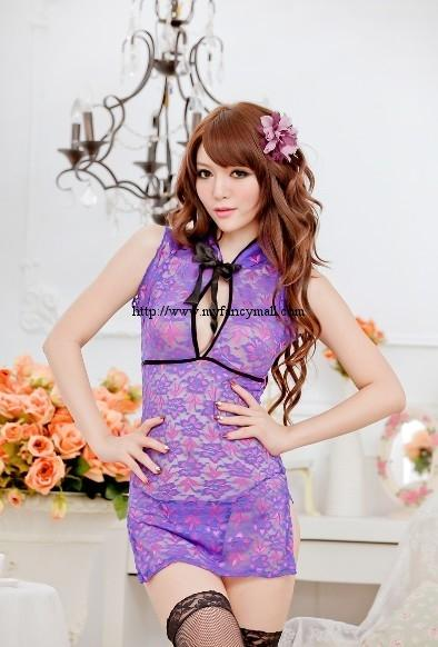00338 Cosplay sexy cheongsam dress Perspective Lingerie Nightwear +T