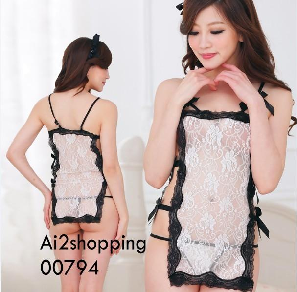 00794B/W exquisite lace straps sexy fun pajamas+thong