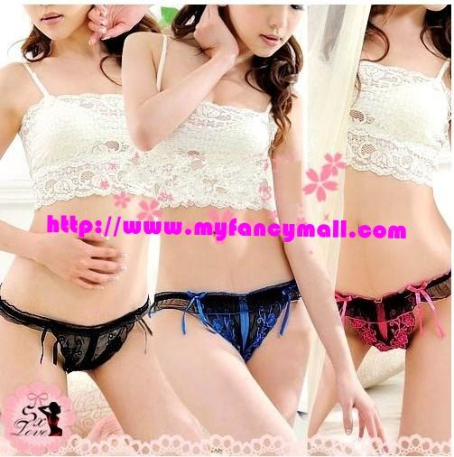 01435 Delicate Embroidered Flower Hollow Crotch G-String