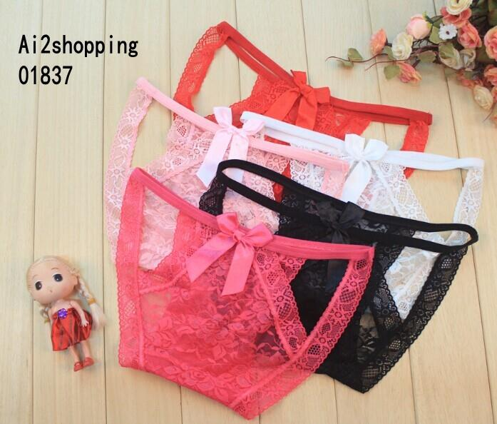 01837New full lace bow sexy female underwear Panty