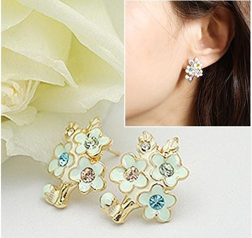 01881Korean jewelry colorful diamond earrings peach branches