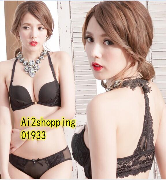 01933Korean black prop gather  Sexy Underwear Bra Set