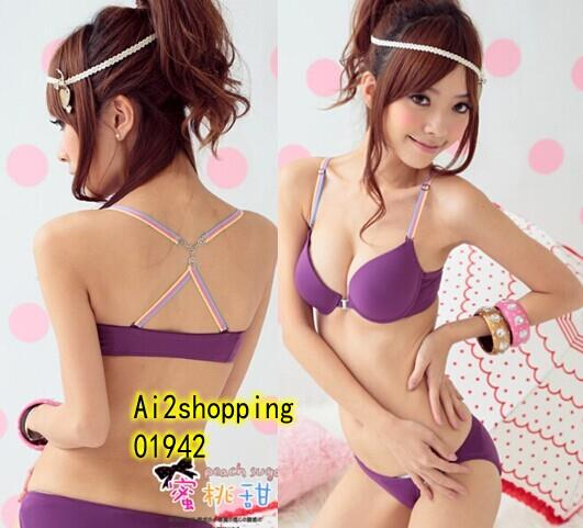 01942Korea UP ribbons gather sweet sexy underwear Bra sets