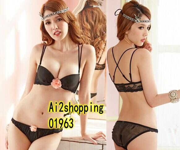 01963New Black lace chest gather flowers sexy Underwear Bra Suit