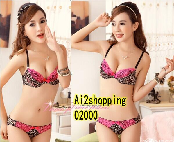 02000Sexy leopard lace Gather Pop Underwear Bra Suit