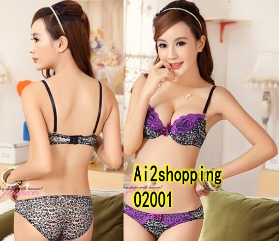 02001New wild leopard lace sexy Gather Pop Underwear Bra Suit