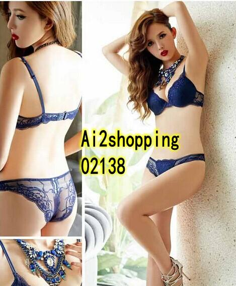 02138 Korean Style Embroidered Lace Push Up Bra Set