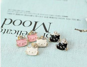 02319 Korean diamond Crown cat earrings
