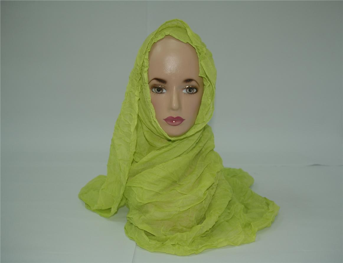 0245 - Wide Shawl - Crippled green color big voile scarf