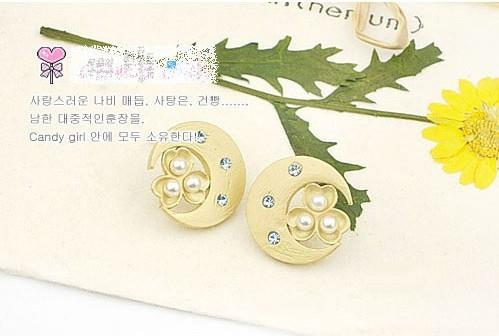 02467 Korean moon pearl earrings diamond