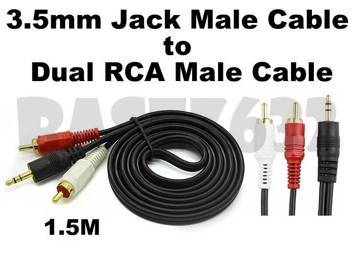 1.5M 3.5mm Audio Male to Dual 2 RCA Male Jack Cable Gold Connector