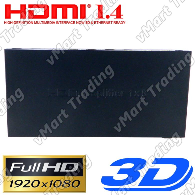 1 In 8 Out Amplified FullHD HDMI Splitter