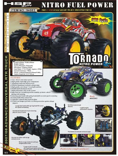 1:8 HSP Racing Tornado 21CXP Nitro 4WD Monster Truck 2.4Ghz RTR