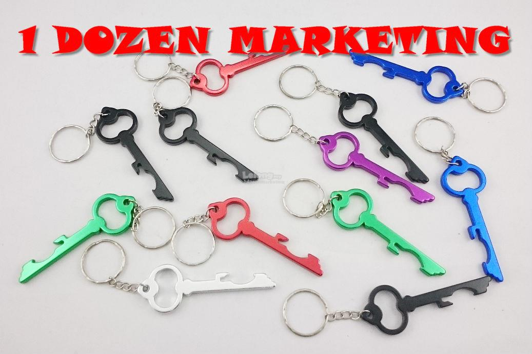 1 Dozen Aluminum Key Shape Bottle Opener Key Ring Chain