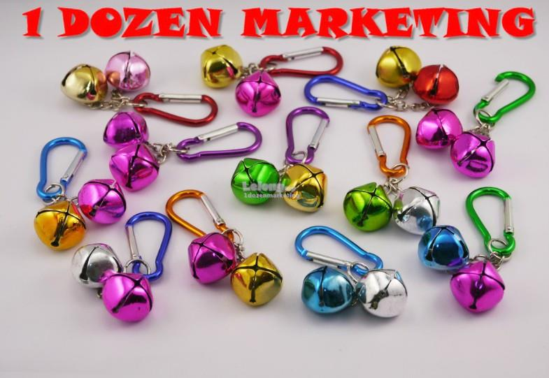 1 Dozen Double Jingle Bell Key Ring Chain