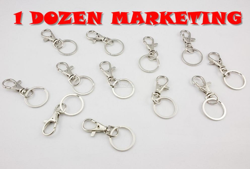 1 Dozen Small Steel Hook Clasp Key Ring