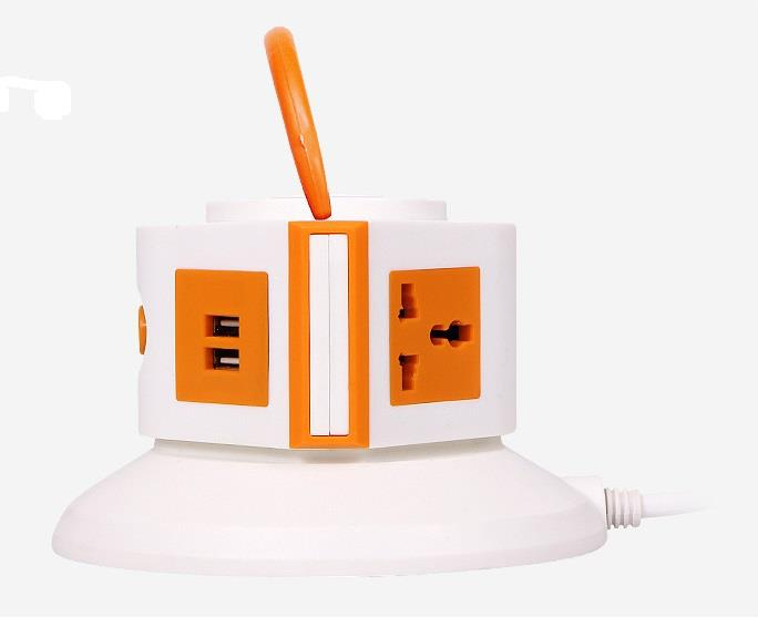 1 Layer Vertical Socket with 2 USB Port(Random Colour)