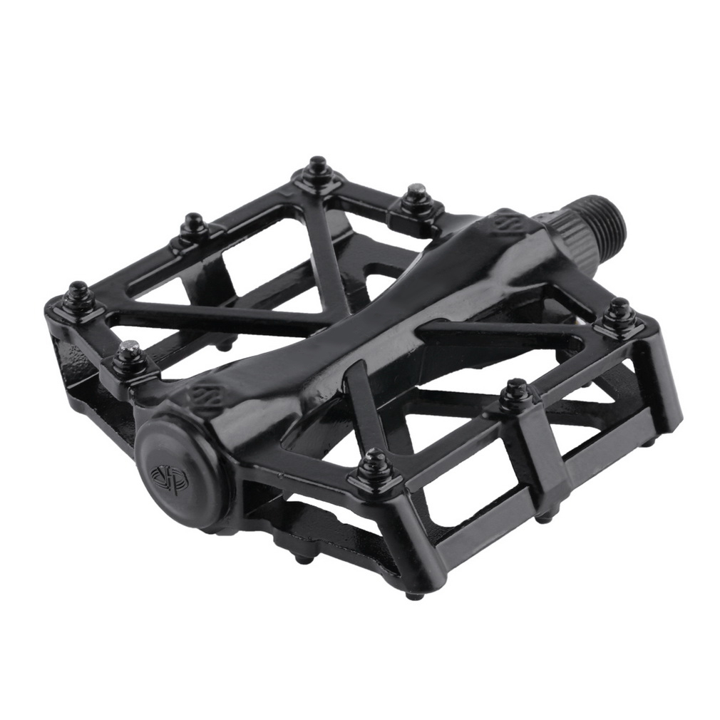 1 Pair Aluminum Alloy Flat Platform Bicycle Cycling Riding Pedals Trea..