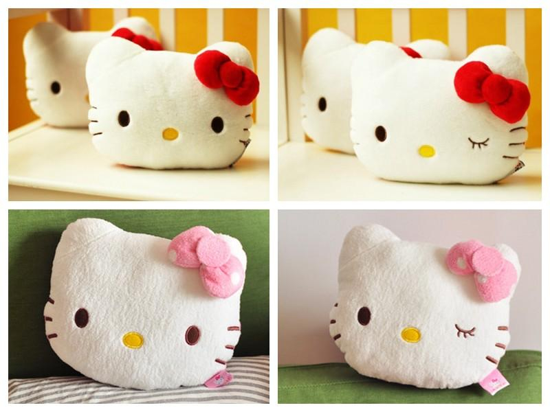1 Pair of Hello Kitty Face Soft Plush Car Headrest Pillow