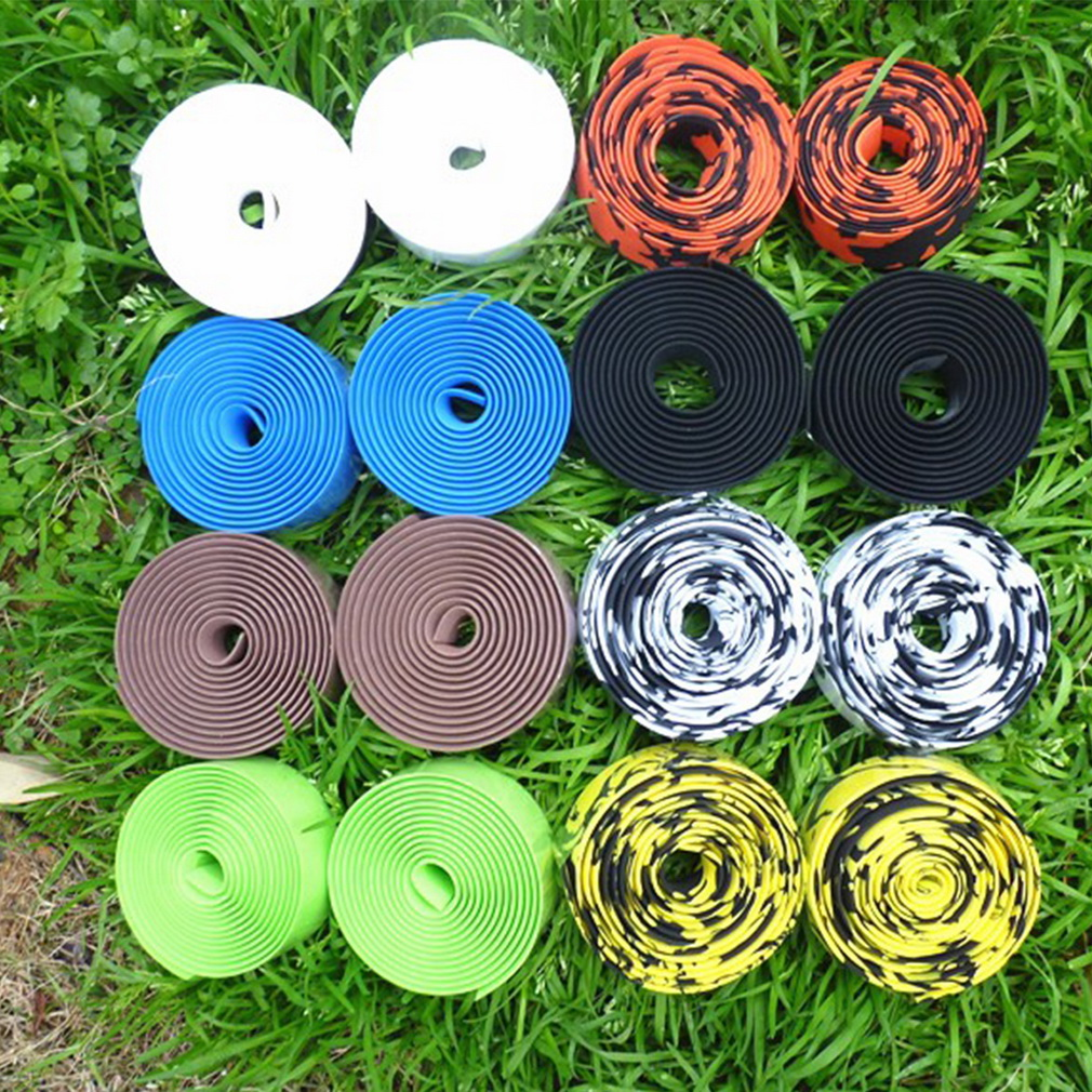 1 Pair Road Bike Bicycle Handlebar Bar Grip Wrap Ribbon Tape + 2 Bar P..