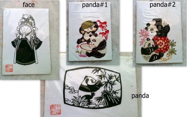 1 set Rm10 -Chinese Handmade Paper Cut**Face+Panda