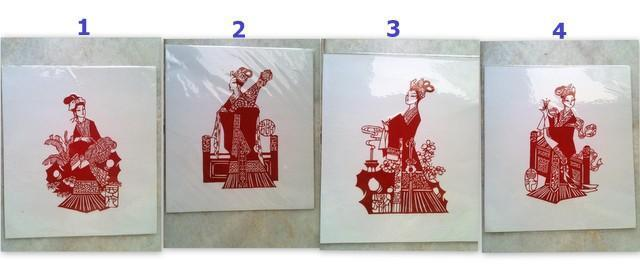 1 set Rm10-Chinese Handmade Paper Cut**Four Beauties