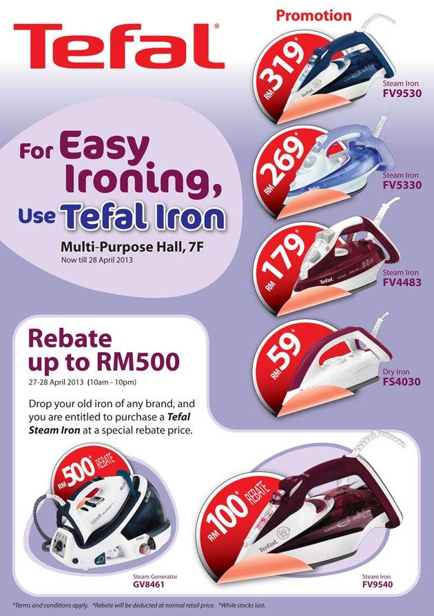 10-Apr-2013 To 28-Apr-2013:Tefal Iron Promotion - KL Sogo!