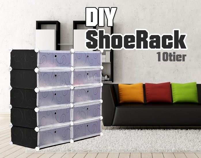 10 Cube DIY Shoe Rack Plain Black / Pink