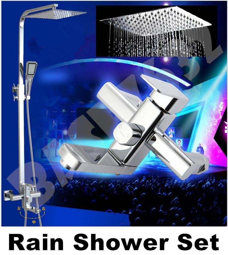 10 Inch  Heavy Duty Brass Bathroom Rain Shower  Faucet Set with Spray