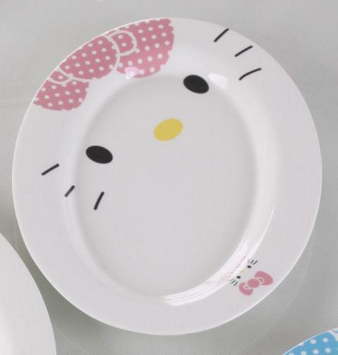 10 inches Hello Kitty Ceramic Fish Plate (Pink)
