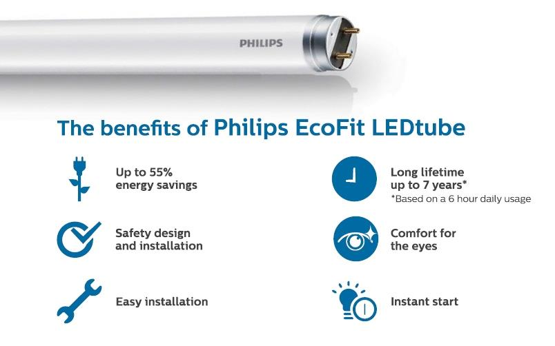 Philips Ecofit Led Tube G13 16w 765 T8 4ft Cool White
