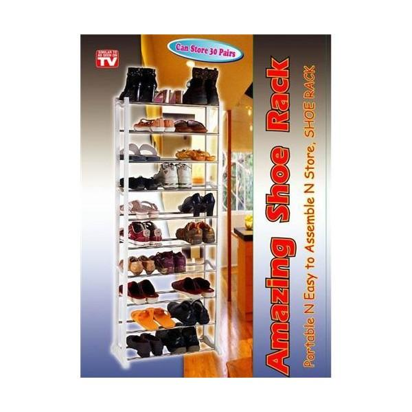 10 Tier Level Amazing Space Saving Shoe Rack Store 30 Pairs Shoe