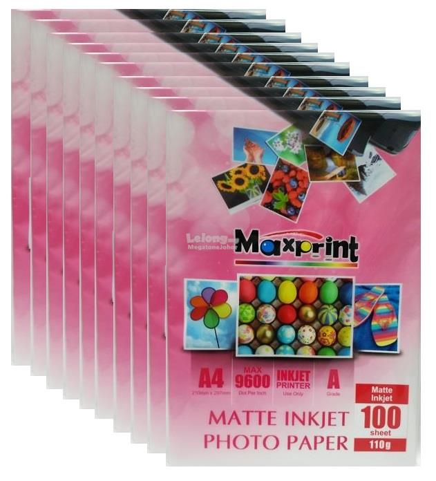 10 x MAXPRINT DUAL SIDE INKJET MATTE PHOTO PAPER - A4/250g/20pcs