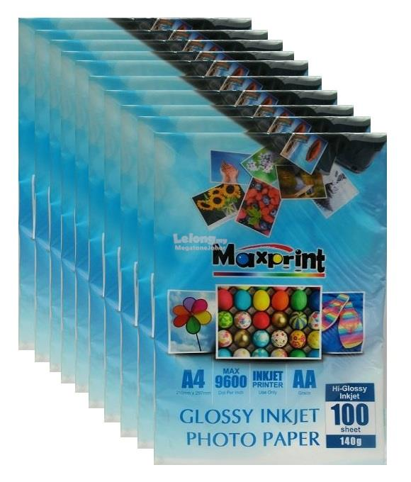 10 x MAXPRINT HIGH GLOSSY INKJET PHOTO PAPER - A4/140g/100pcs