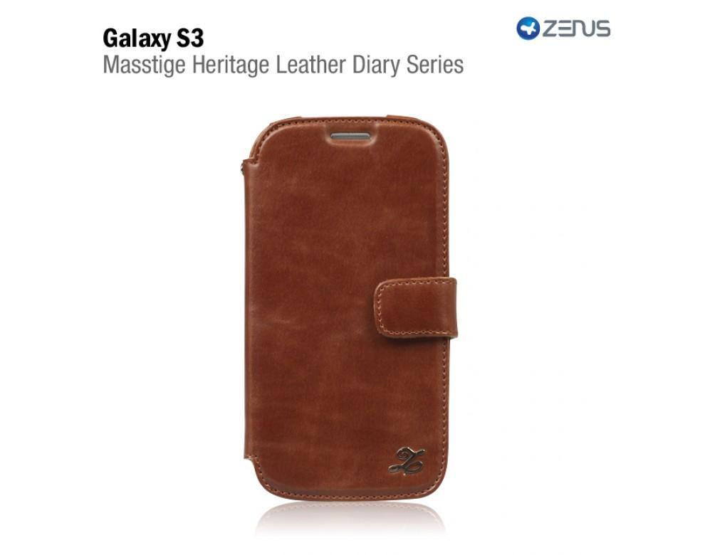 100% ORI Zenus Samsung Galaxy S3 Masstige Heritage Leather Diary Brown