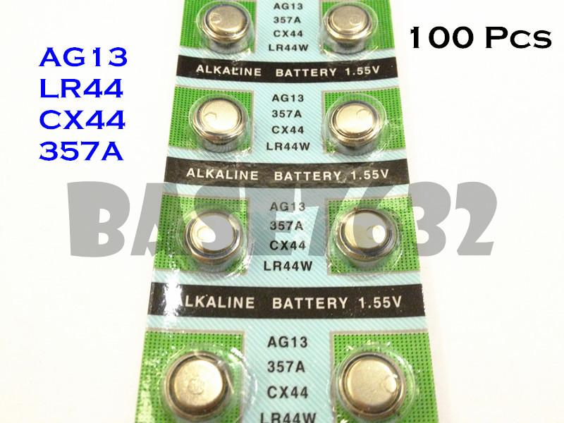100 Pcs AG13/357A/LR44/CX44/SR44 Alkaline Button Battery 1.5V