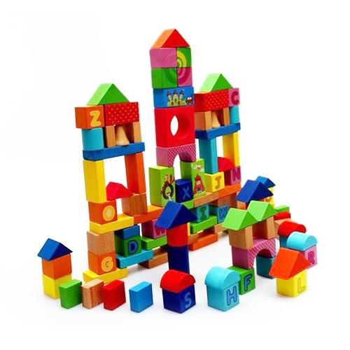 100 Pieces Alphanumeric Wooden Building Blocks