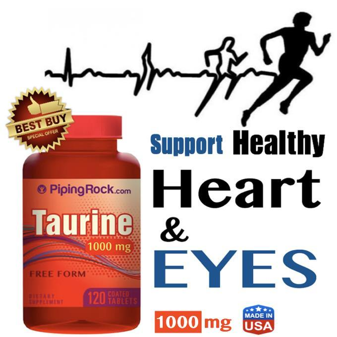 100% Pure Taurine 1000mg, 120 Tablets (Eyes, Muscle, Amino, Muscle)
