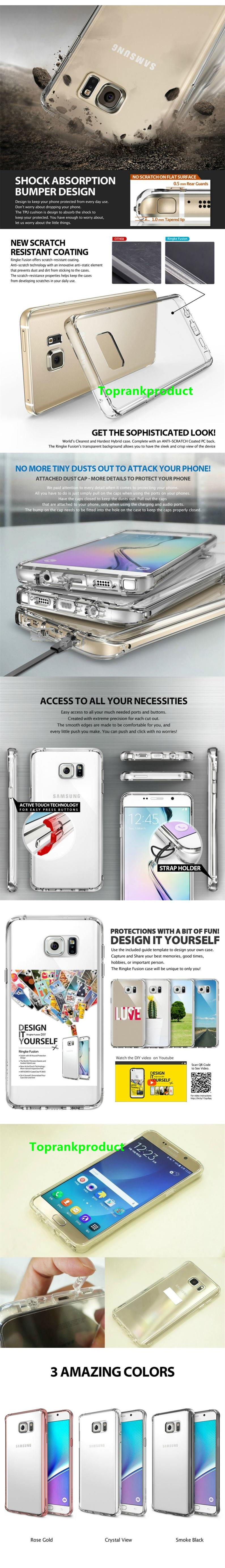 100% Rearth Ringke Samsung Galaxy Note 5 Fusion Case Cover Casing