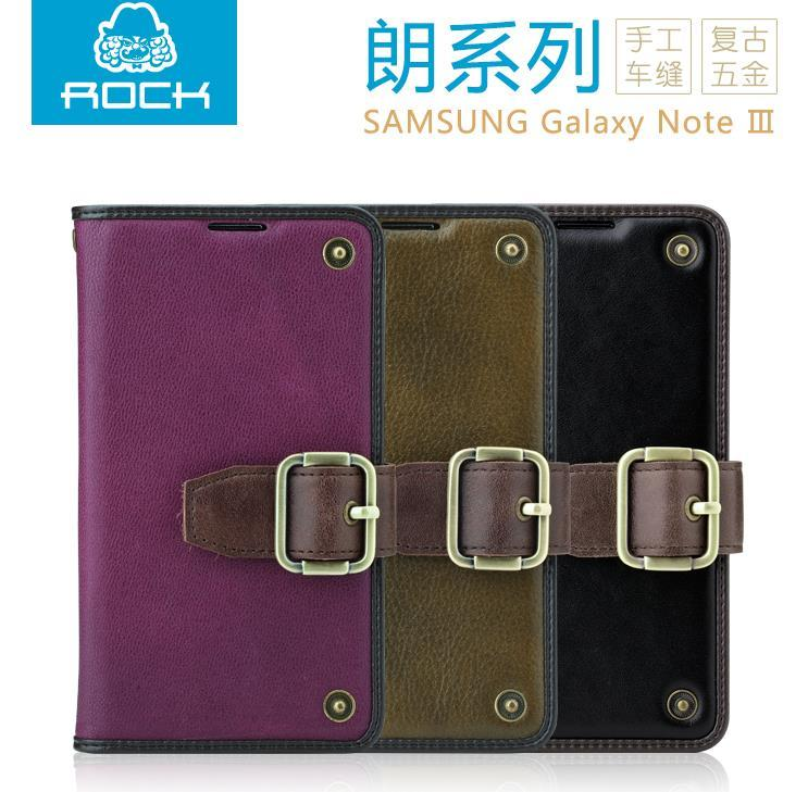 100% Rock Samsung Galaxy Note 3 Flip  Cow Leather Case Cover Casing