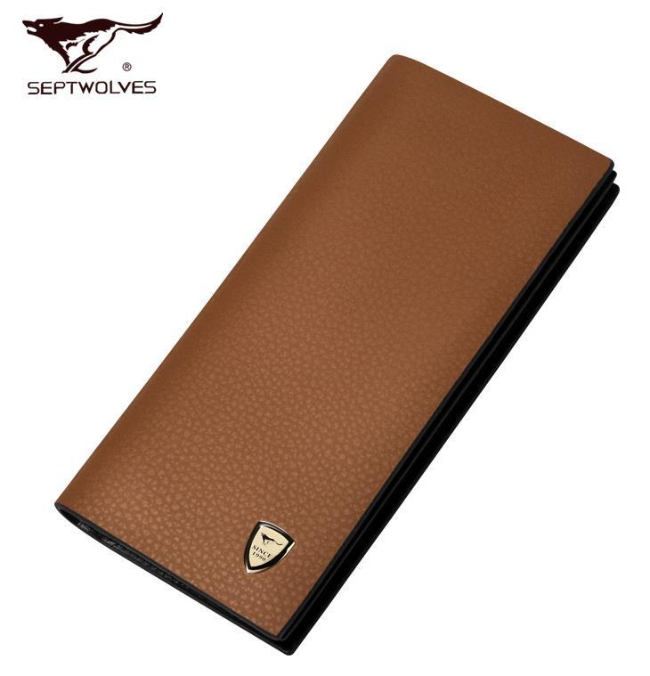 100% Septwolves Cow Leather Man's Wallet Card Slots Money Clips Bag