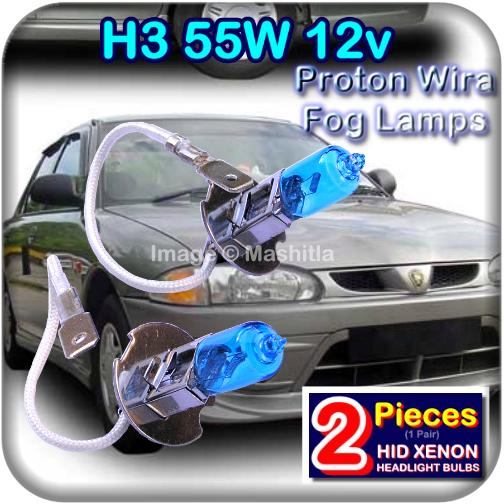 [1003] Proton Wira Fog Lamp H3 HID Bulbs Blue Tint Super White Light